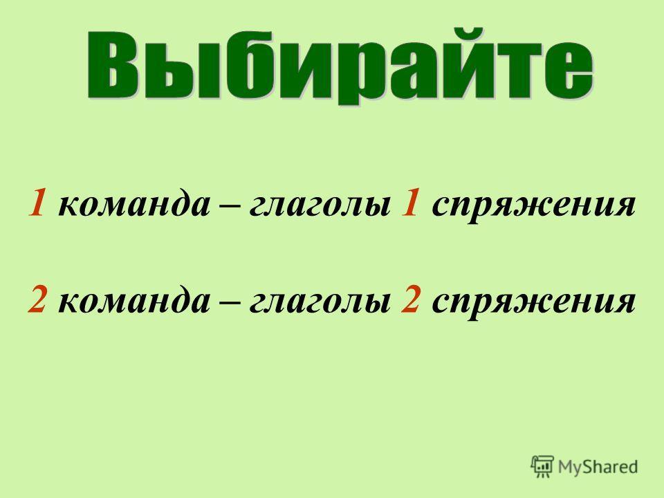 1 команда – глаголы 1 спряжения 2 команда – глаголы 2 спряжения