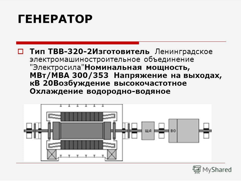 ГЕНЕРАТОР Тип ТВВ-320-2Изготовитель Ленинградское электромашиностроительное объединение ЭлектросилаНоминальная мощность, МВт/МВA 300/353 Напряжение на выходах, кВ 20Возбуждение высокочастотное Охлаждение водородно-водяное
