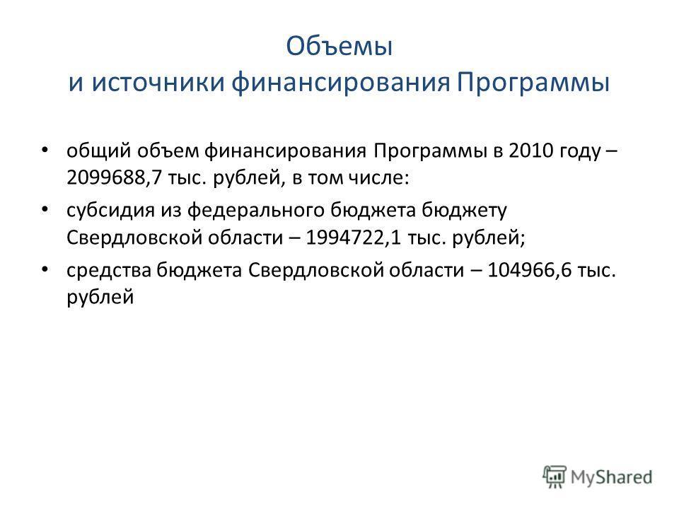Объемы и источники финансирования Программы общий объем финансирования Программы в 2010 году – 2099688,7 тыс. рублей, в том числе: субсидия из федерального бюджета бюджету Свердловской области – 1994722,1 тыс. рублей; средства бюджета Свердловской об