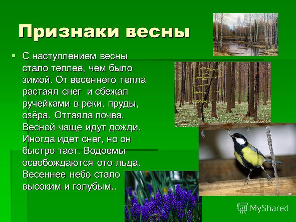 Признаки весны С наступлением весны стало теплее, чем было зимой. От весеннего тепла растаял снег и сбежал ручейками в реки, пруды, озёра. Оттаяла почва. Весной чаще идут дожди. Иногда идет снег, но он быстро тает. Водоемы освобождаются ото льда. Вес