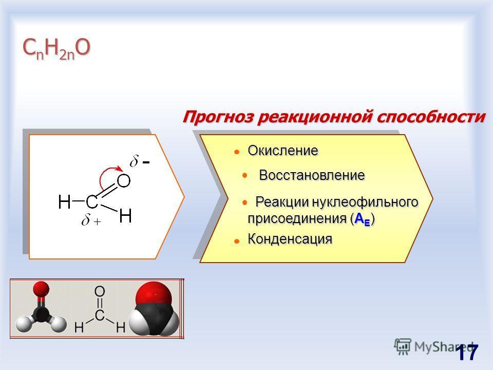 С n H 2n O Прогноз реакционной способности Окисление Восстановление Восстановление Реакции нуклеофильного присоединения (A E ) Реакции нуклеофильного присоединения (A E )Конденсация 17