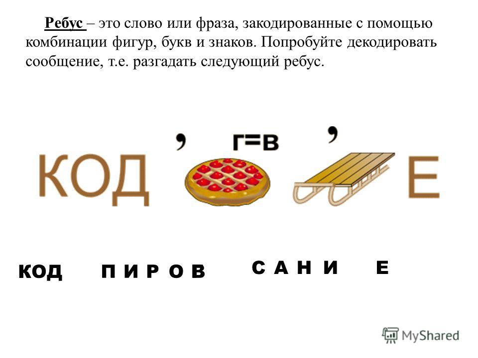 Ребус – это слово или фраза, закодированные с помощью комбинации фигур, букв и знаков. Попробуйте декодировать сообщение, т.е. разгадать следующий ребус. КОД ПИГОРВ СНАИЕ