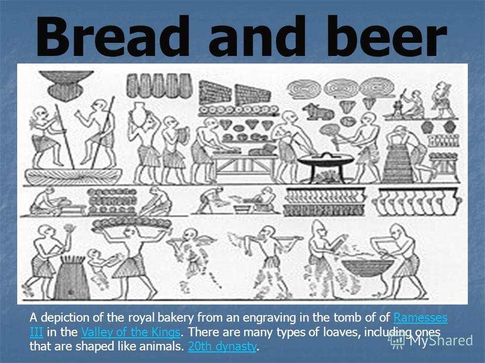 Bread and beer A depiction of the royal bakery from an engraving in the tomb of of Ramesses III in the Valley of the Kings. There are many types of loaves, including ones that are shaped like animals. 20th dynasty.Ramesses IIIValley of the Kings20th
