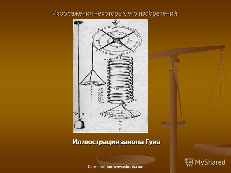 Изображения некоторых его изобретений. Иллюстрация закона Гука Иллюстрация закона Гука Из коллекции www.eduspb.com