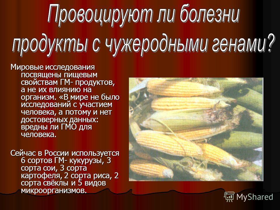 Мировые исследования посвящены пищевым свойствам ГМ- продуктов, а не их влиянию на организм. «В мире не было исследований с участием человека, а потому и нет достоверных данных: вредны ли ГМО для человека. Сейчас в России используется 6 сортов ГМ- ку