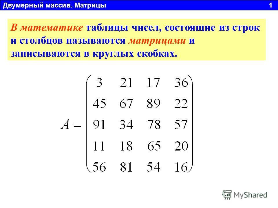 В математике таблицы чисел, состоящие из строк и столбцов называются матрицами и записываются в круглых скобках. Двумерный массив. Матрицы 1