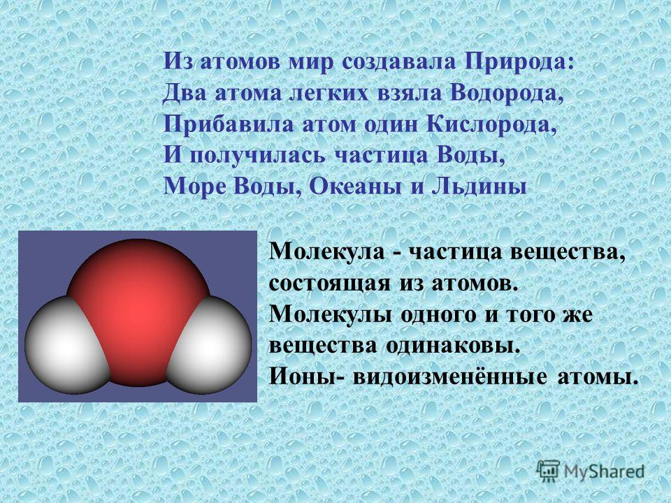 Из атомов мир создавала Природа: Два атома легких взяла Водорода, Прибавила атом один Кислорода, И получилась частица Воды, Море Воды, Океаны и Льдины Молекула - частица вещества, состоящая из атомов. Молекулы одного и того же вещества одинаковы. Ион