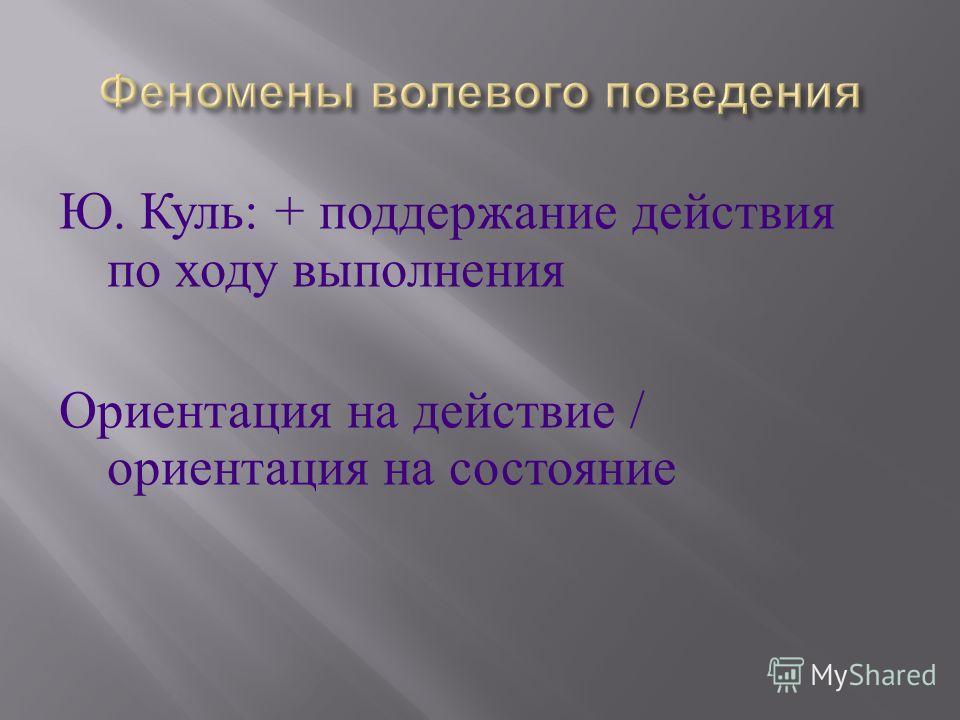 Ю. Куль : + поддержание действия по ходу выполнения Ориентация на действие / ориентация на состояние
