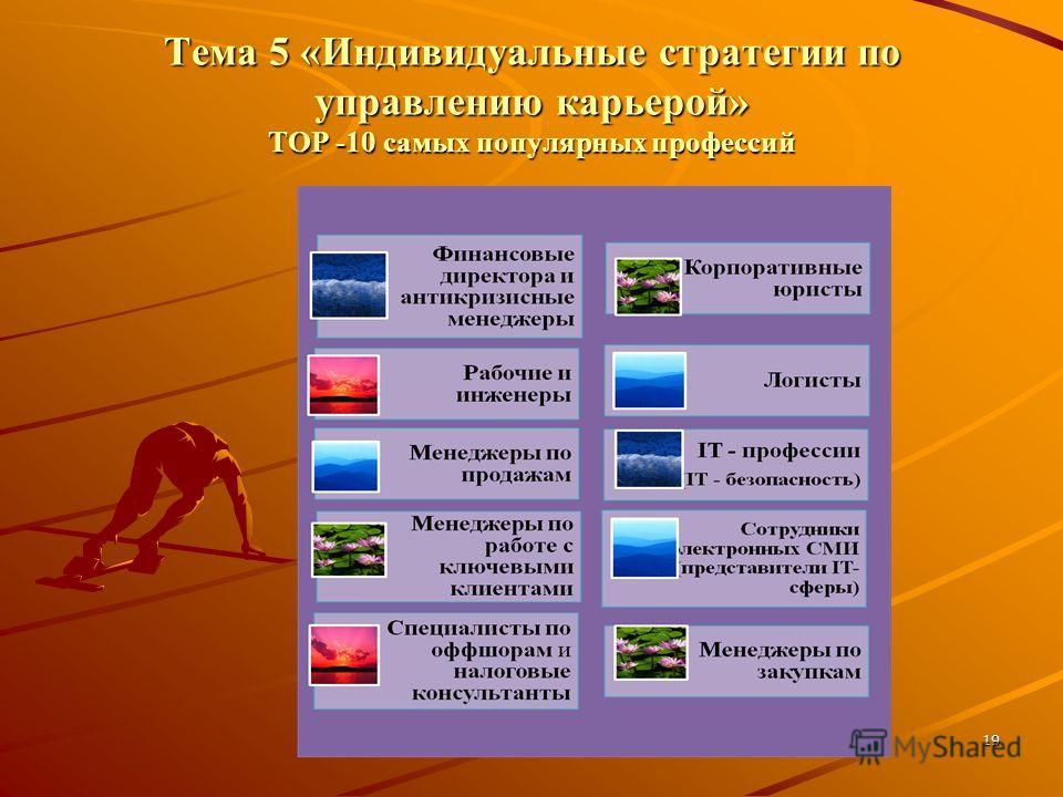19 Тема 5 «Индивидуальные стратегии по управлению карьерой» ТОР -10 самых популярных профессий