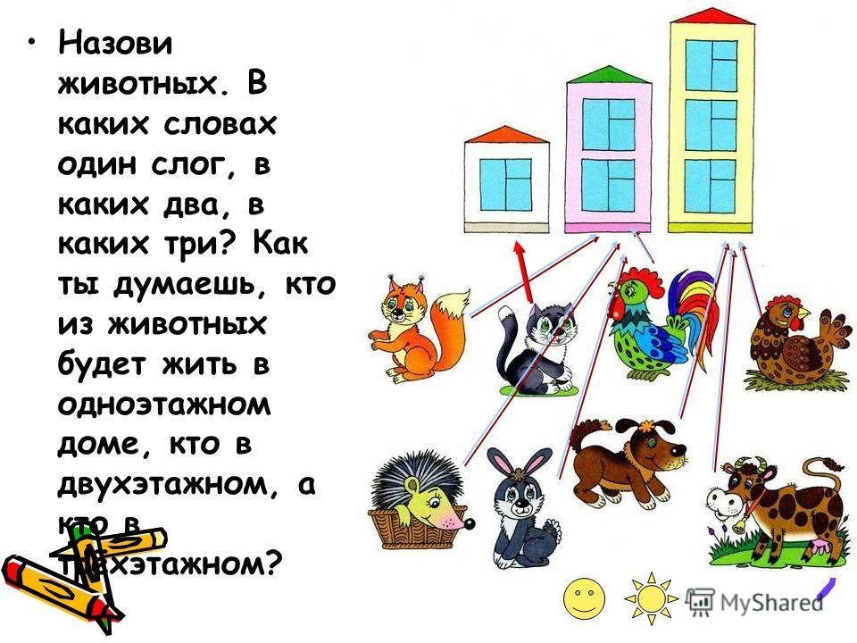 Назови животных. В каких словах один слог, в каких два, в каких три? Как ты думаешь, кто из животных будет жить в одноэтажном доме, кто в двухэтажном, а кто в трёхэтажном?