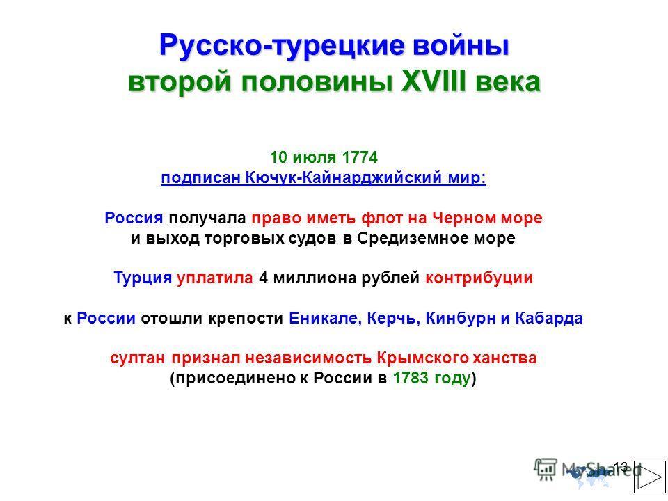13 Русско-турецкие войны второй половины XVIII века 10 июля 1774 подписан Кючук-Кайнарджийский мир: Россия получала право иметь флот на Черном море и выход торговых судов в Средиземное море Турция уплатила 4 миллиона рублей контрибуции к России отошл
