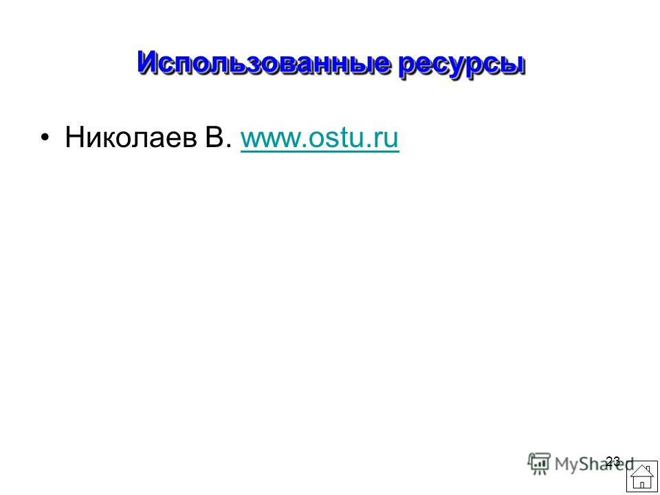 23 Использованные ресурсы Николаев В. www.ostu.ruwww.ostu.ru