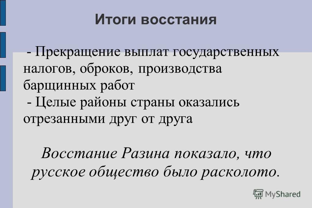 Итоги восстания - Прекращение выплат государственных налогов, оброков, производства барщинных работ - Целые районы страны оказались отрезанными друг от друга Восстание Разина показало, что русское общество было расколото.