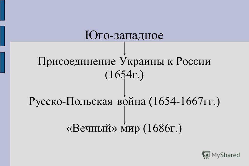 Юго - западное Присоединение Украины к России (1654г.) Русско-Польская война (1654-1667гг.) «Вечный» мир (1686г.)