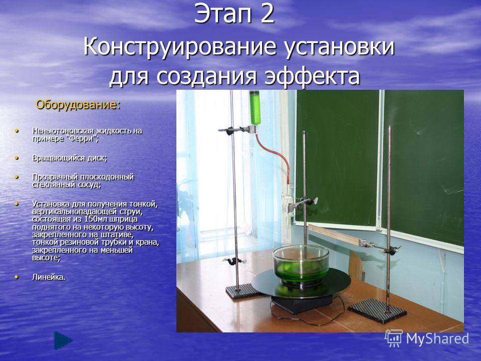 Этап 2 Конструирование установки для создания эффекта Оборудование: Оборудование: Неньютоновская жидкость на примере Ферри; Неньютоновская жидкость на примере Ферри; Вращающийся диск; Вращающийся диск; Прозрачный плоскодонный стеклянный сосуд; Прозра