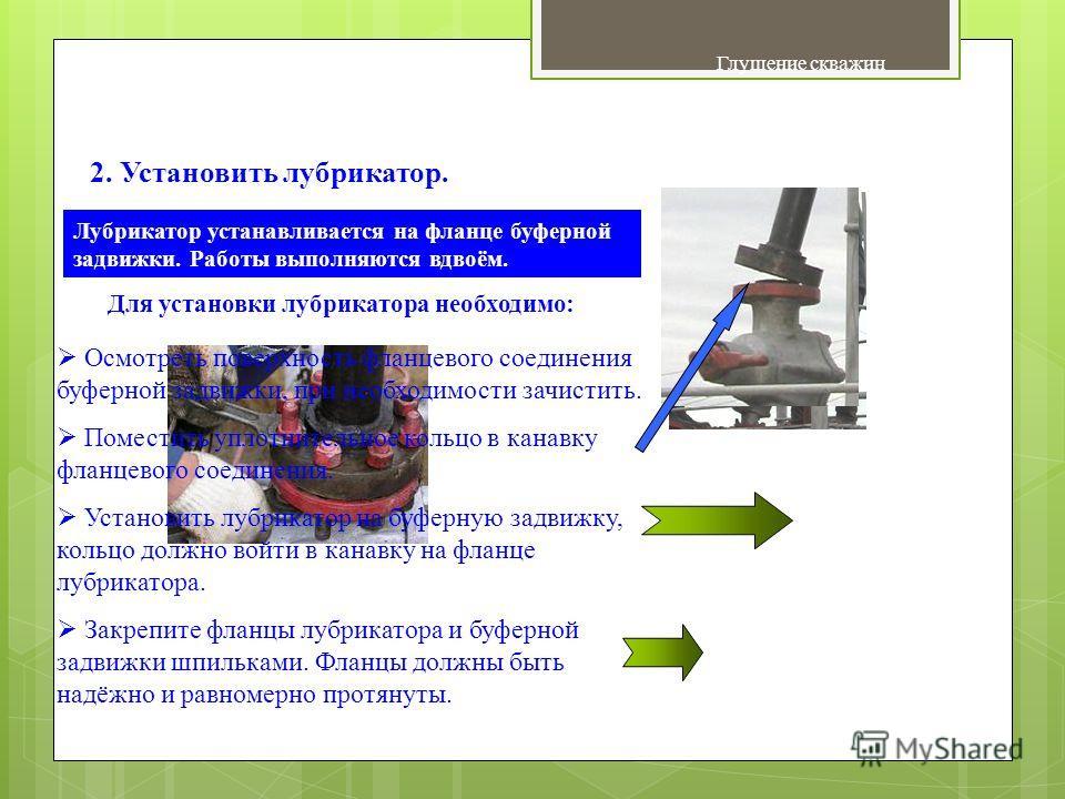 Глушение скважин Сбивание спускного клапана УЭЦН 2. Установить лубрикатор. Для установки лубрикатора необходимо: Осмотреть поверхность фланцевого соединения буферной задвижки, при необходимости зачистить. Поместить уплотнительное кольцо в канавку фла