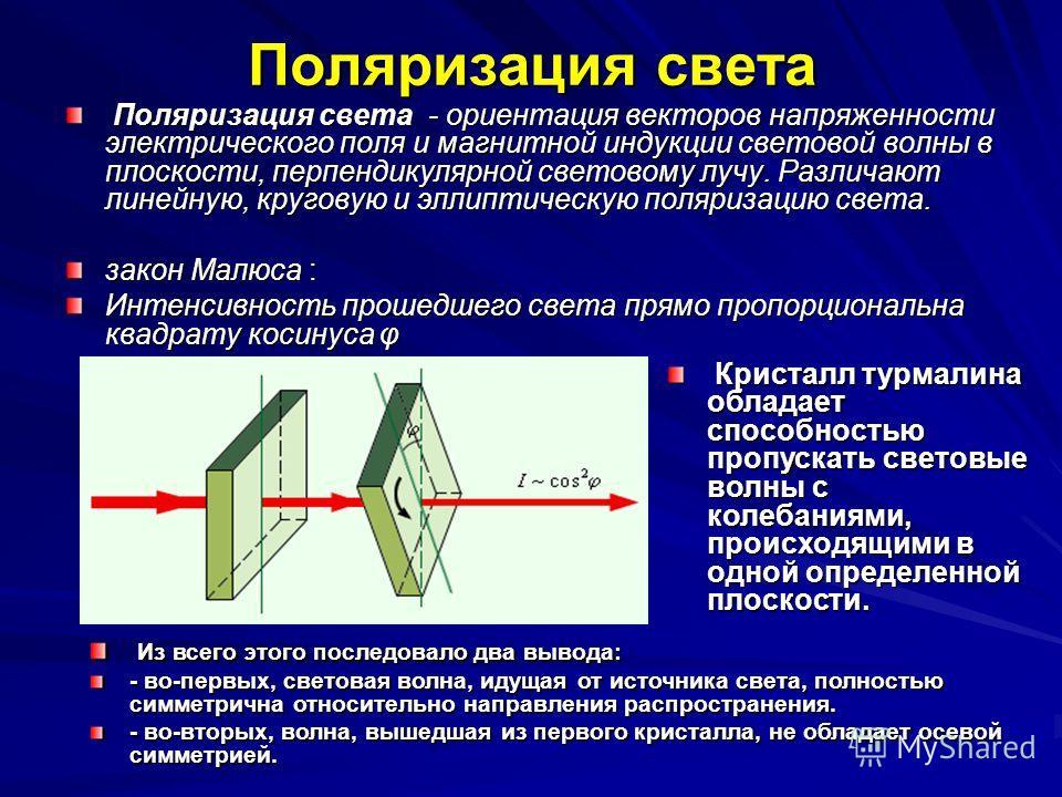 Поляризация света Поляризация света - ориентация векторов напряженности электрического поля и магнитной индукции световой волны в плоскости, перпендикулярной световому лучу. Различают линейную, круговую и эллиптическую поляризацию света. Поляризация