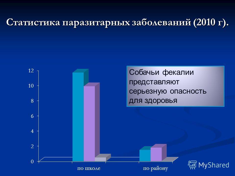 Статистика паразитарных заболеваний (2010 г). Собачьи фекалии представляют серьезную опасность для здоровья