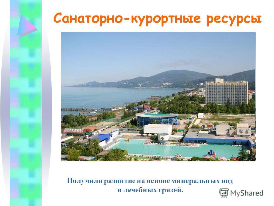 Санаторно-курортные ресурсы Получили развитие на основе минеральных вод и лечебных грязей.