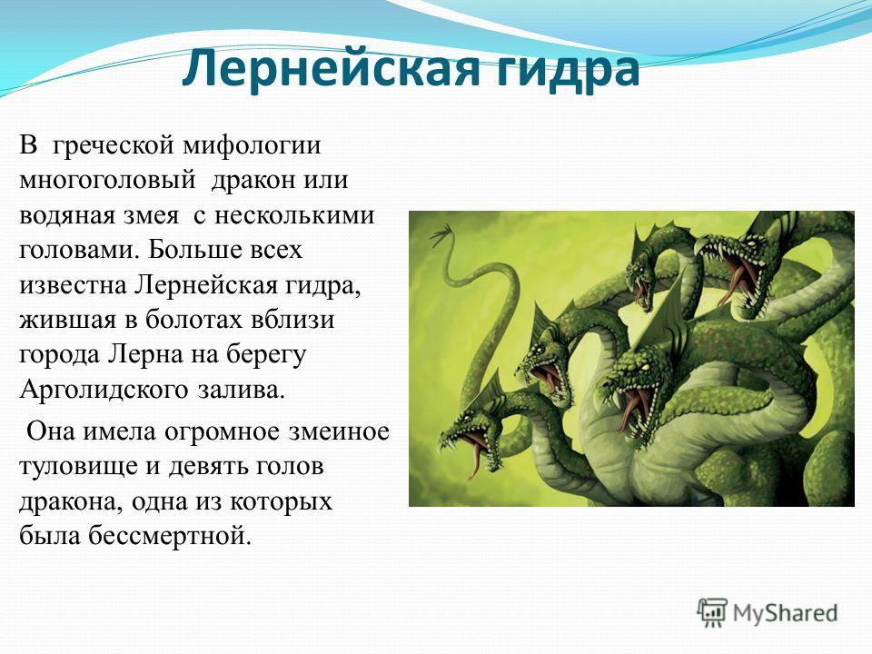 Лернейская гидра В греческой мифологии многоголовый дракон или водяная змея с несколькими головами. Больше всех известна Лернейская гидра, жившая в болотах вблизи города Лерна на берегу Арголидского залива. Она имела огромное змеиное туловище и девят