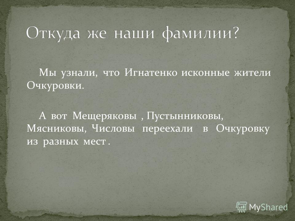 Мы узнали, что Игнатенко исконные жители Очкуровки. А вот Мещеряковы, Пустынниковы, Мясниковы, Числовы переехали в Очкуровку из разных мест.