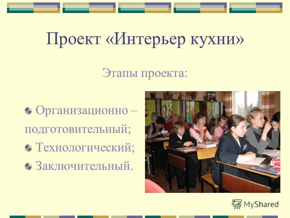 Проект «Интерьер кухни» Этапы проекта: Организационно – подготовительный; Технологический; Заключительный.