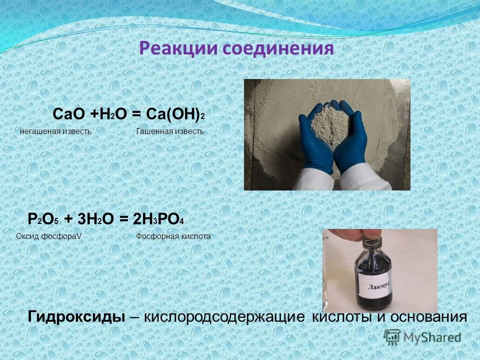 Реакции соединения СаО +Н 2 О = Са(ОН) 2 негашеная известьГашенная известь Р 2 О 5 + 3Н 2 О = 2Н 3 РО 4 Оксид фосфораVФосфорная кислота Гидроксиды – кислородсодержащие кислоты и основания