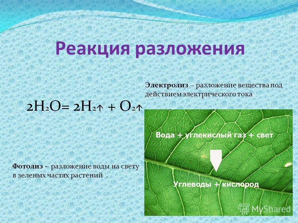 Реакция разложения 2Н 2 О= 2Н 2 + О 2 Электролиз – разложение вещества под действием электрического тока Фотолиз - разложение воды на свету в зеленых частях растений.