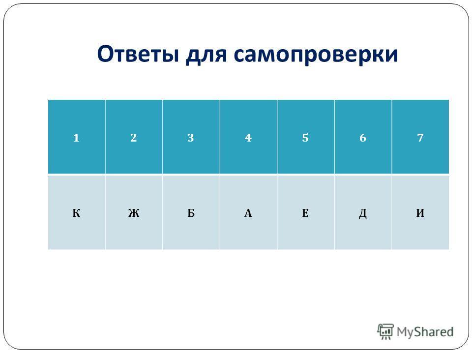 Ответы для самопроверки 1234567 КЖБАЕДИ