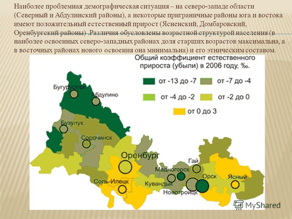 Наиболее проблемная демографическая ситуация – на северо-западе области (Северный и Абдулинский районы), а некоторые приграничные районы юга и востока имеют положительный естественный прирост (Ясненский, Домбаровский, Оренбургский районы).Различия об