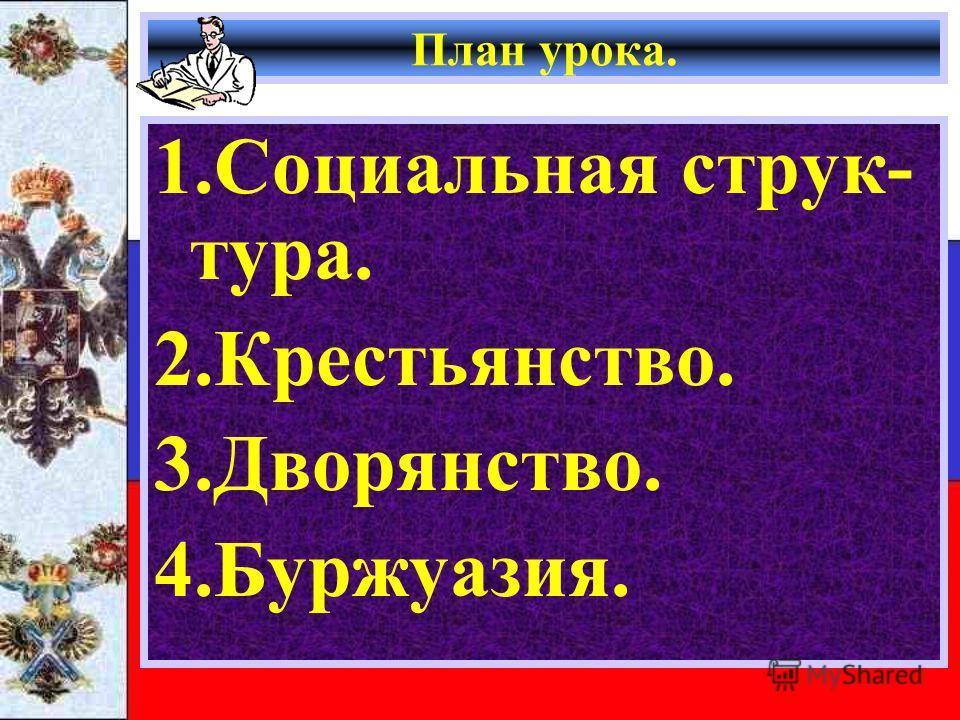План урока. 1.Социальная струк- тура. 2.Крестьянство. 3.Дворянство. 4.Буржуазия.