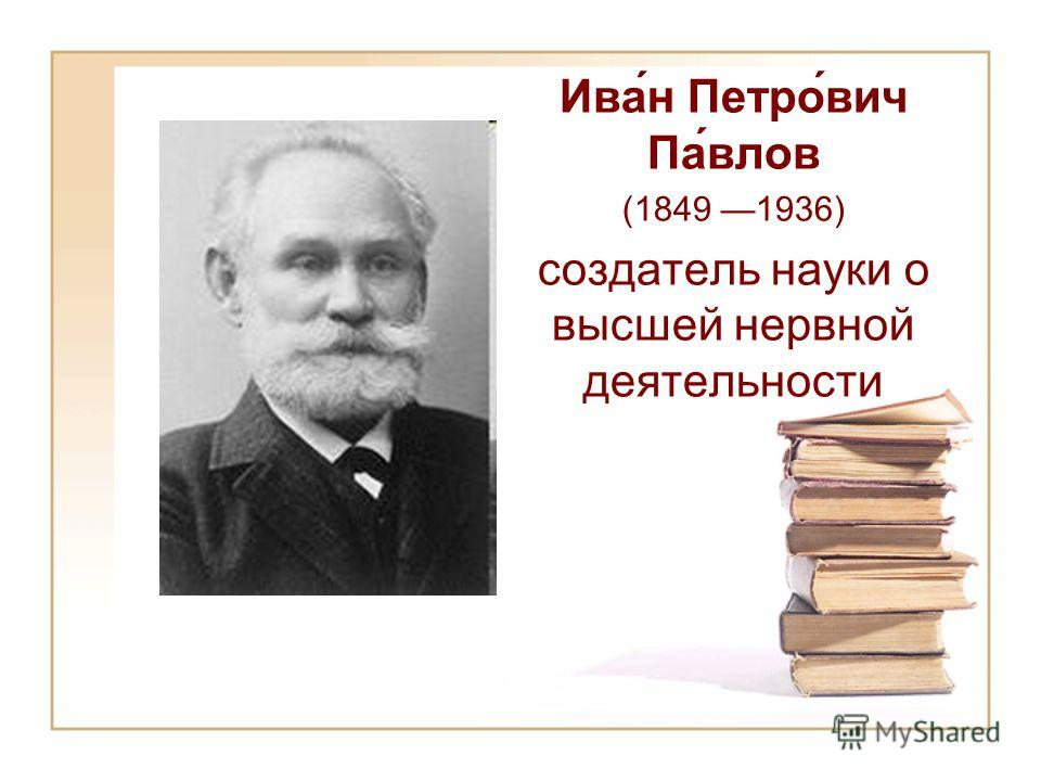 Ива́н Петро́вич Па́влов (1849 1936) создатель науки о высшей нервной деятельности