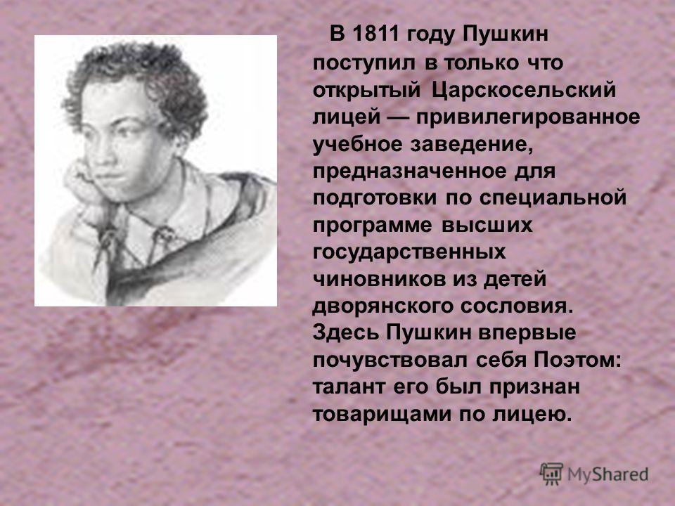 В 1811 году Пушкин поступил в только что открытый Царскосельский лицей привилегированное учебное заведение, предназначенное для подготовки по специальной программе высших государственных чиновников из детей дворянского сословия. Здесь Пушкин впервые