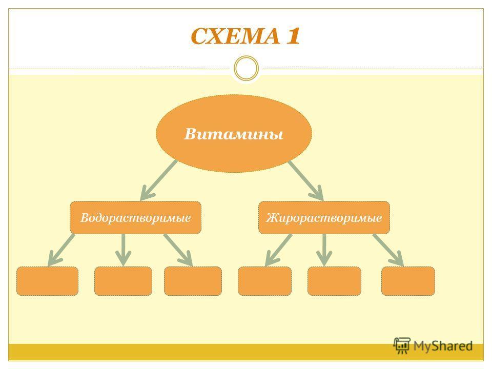 СХЕМА 1 Витамины ВодорастворимыеЖирорастворимые