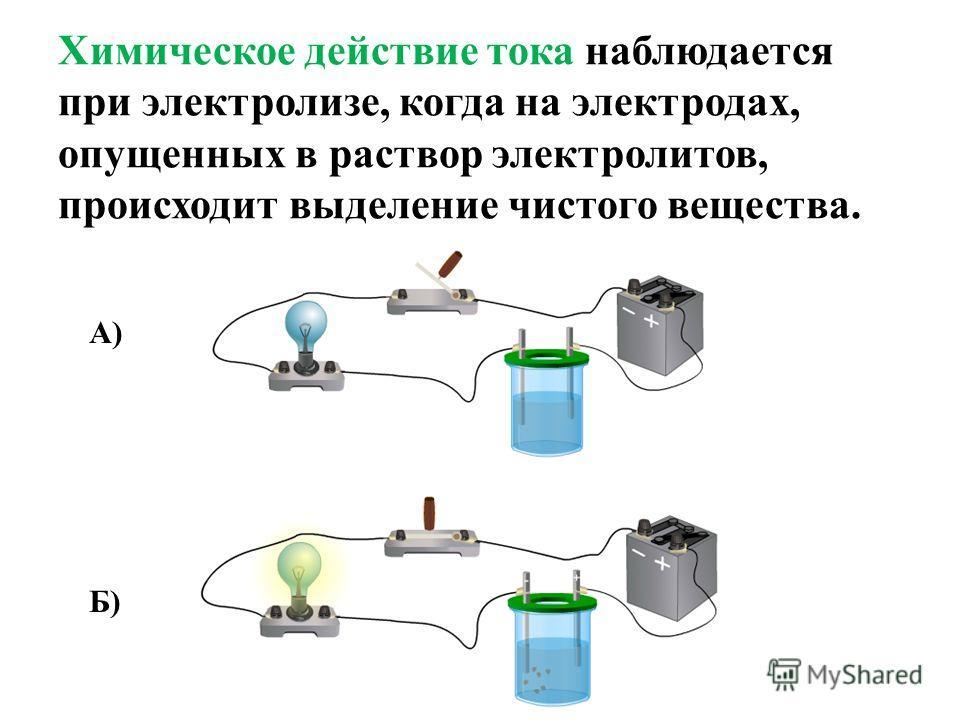 Химическое действие тока наблюдается при электролизе, когда на электродах, опущенных в раствор электролитов, происходит выделение чистого вещества. А) Б)