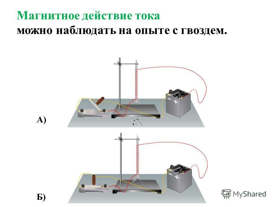 Магнитное действие тока можно наблюдать на опыте с гвоздем. А) Б)