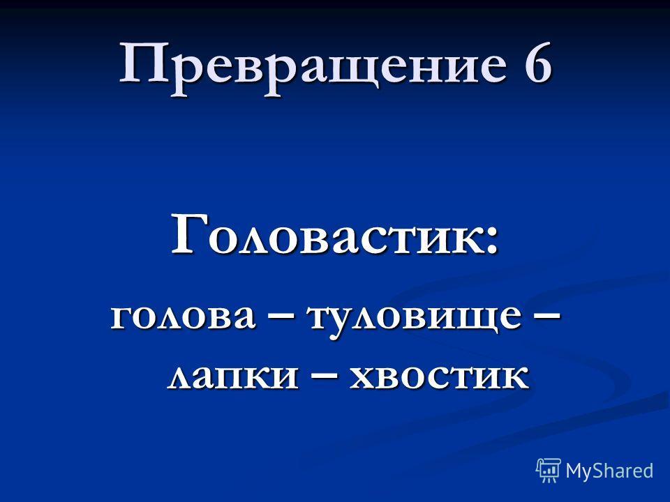 Превращение 6 Головастик: голова – туловище – лапки – хвостик