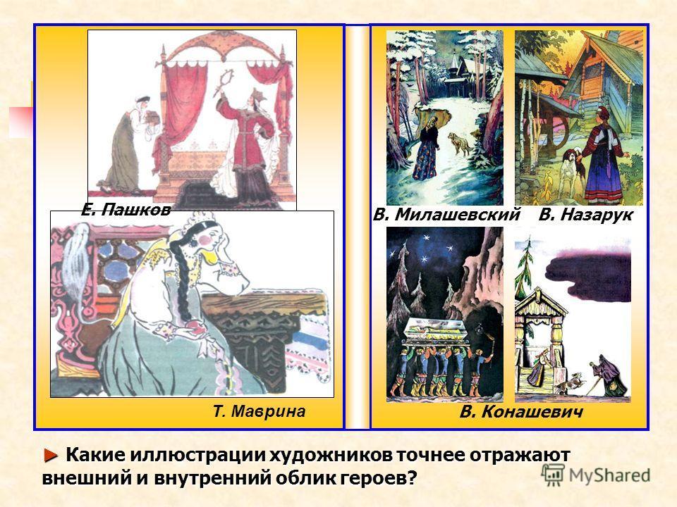 Т. Маврина Е. Пашков В. Милашевский В. Конашевич Какие иллюстрации художников точнее отражают внешний и внутренний облик героев? Какие иллюстрации художников точнее отражают внешний и внутренний облик героев? В. Назарук