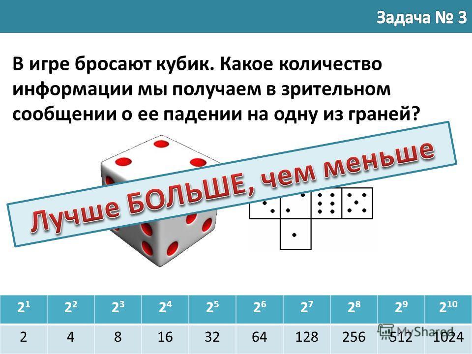21212 2323 2424 2525 2626 2727 2828 2929 2 10 2481632641282565121024 В игре бросают кубик. Какое количество информации мы получаем в зрительном сообщении о ее падении на одну из граней?