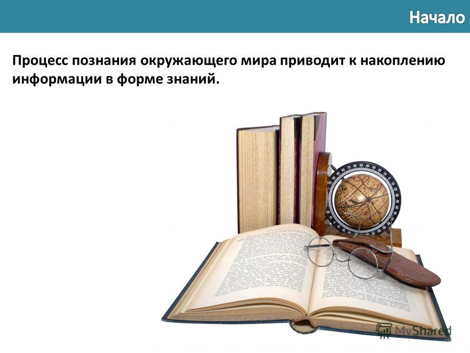 Процесс познания окружающего мира приводит к накоплению информации в форме знаний.