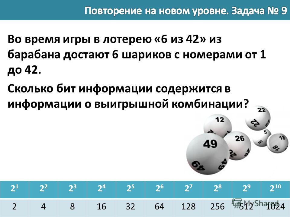 21212 2323 2424 2525 2626 2727 2828 2929 2 10 2481632641282565121024 Во время игры в лотерею «6 из 42» из барабана достают 6 шариков с номерами от 1 до 42. Сколько бит информации содержится в информации о выигрышной комбинации?