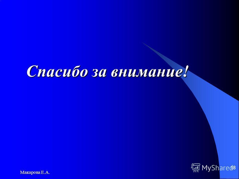Макарова Е.А. 18 Спасибо за внимание!