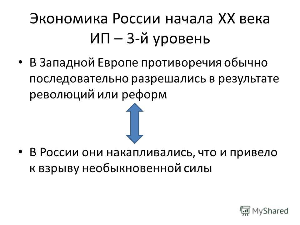 Экономика России начала XX века ИП – 3-й уровень В Западной Европе противоречия обычно последовательно разрешались в результате революций или реформ В России они накапливались, что и привело к взрыву необыкновенной силы