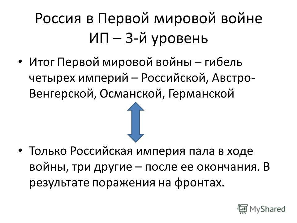 Россия в Первой мировой войне ИП – 3-й уровень Итог Первой мировой войны – гибель четырех империй – Российской, Австро- Венгерской, Османской, Германской Только Российская империя пала в ходе войны, три другие – после ее окончания. В результате пораж