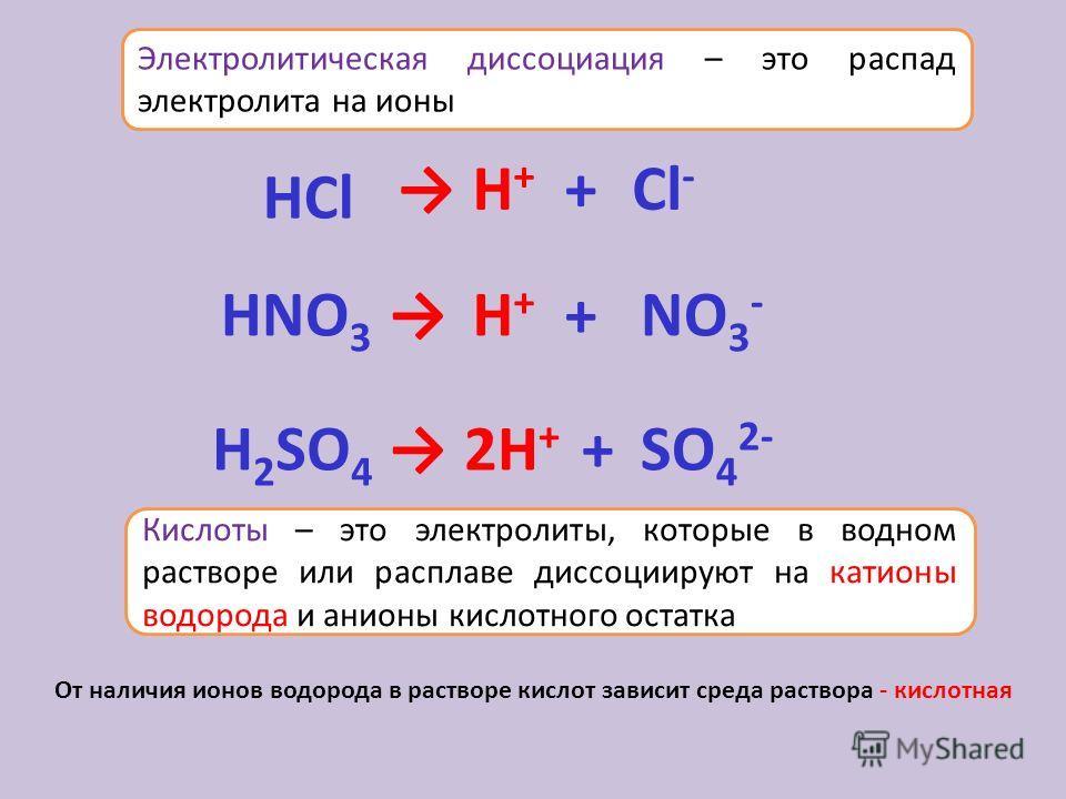 Электролитическая диссоциация – это распад электролита на ионы H 2 SO 4 2H + +SO 4 2- H+H+ H+H+ HNO 3 HСlHСl + + NO 3 - Cl - Кислоты – это электролиты, которые в водном растворе или расплаве диссоциируют на катионы водорода и анионы кислотного остатк