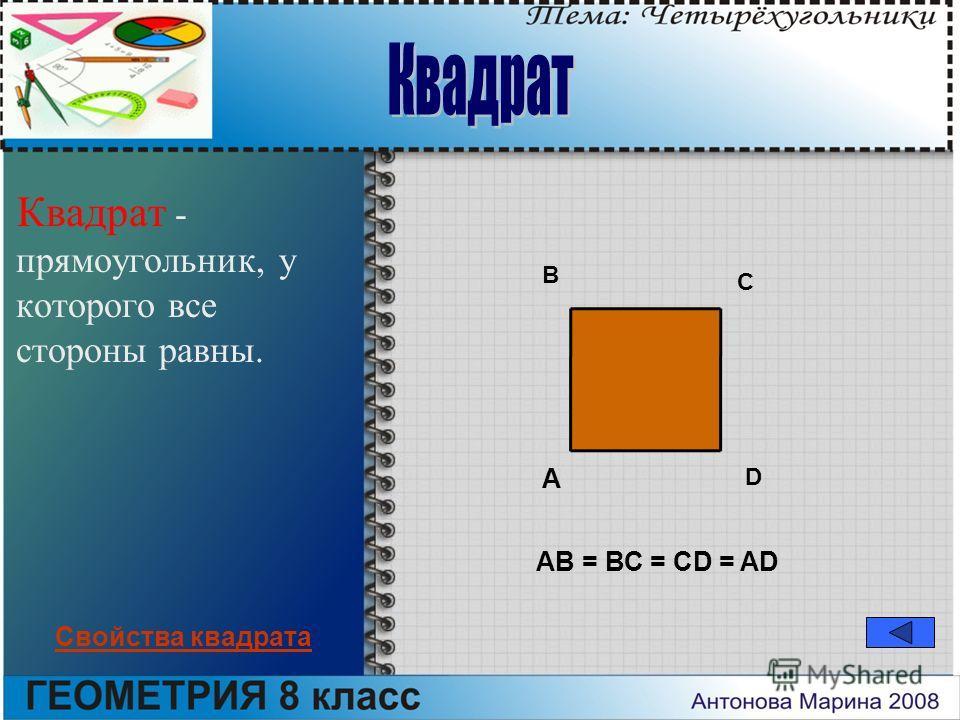 Квадрат - прямоугольник, у которого все стороны равны. A B C D АВ = ВС = CD = AD Свойства квадрата