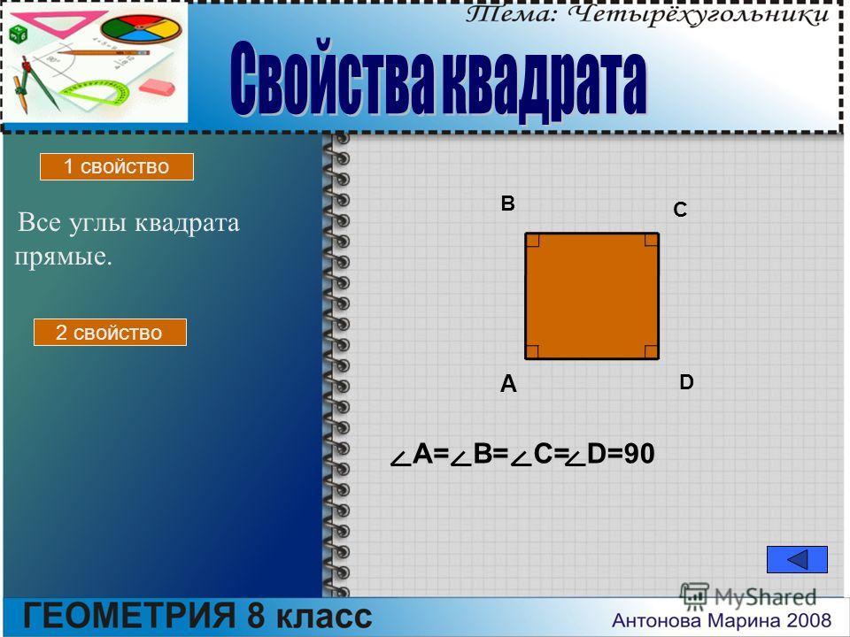 Все углы квадрата прямые. A B C D A=B=C=D=90 1 свойство 2 свойство