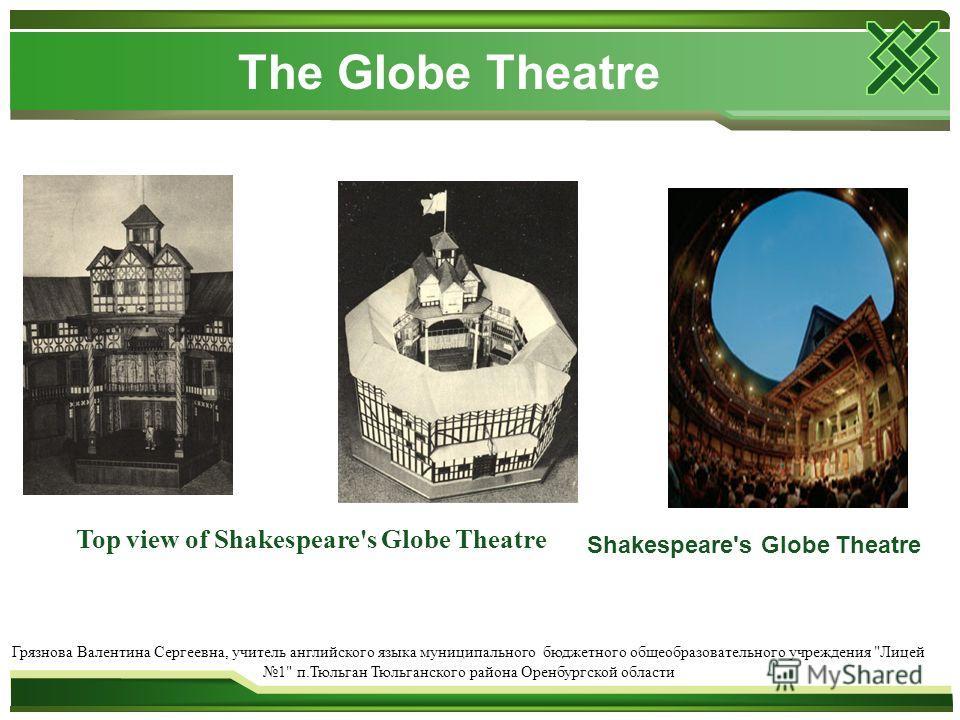 The Globe Theatre Top view of Shakespeare's Globe Theatre Грязнова Валентина Сергеевна, учитель английского языка муниципального бюджетного общеобразовательного учреждения