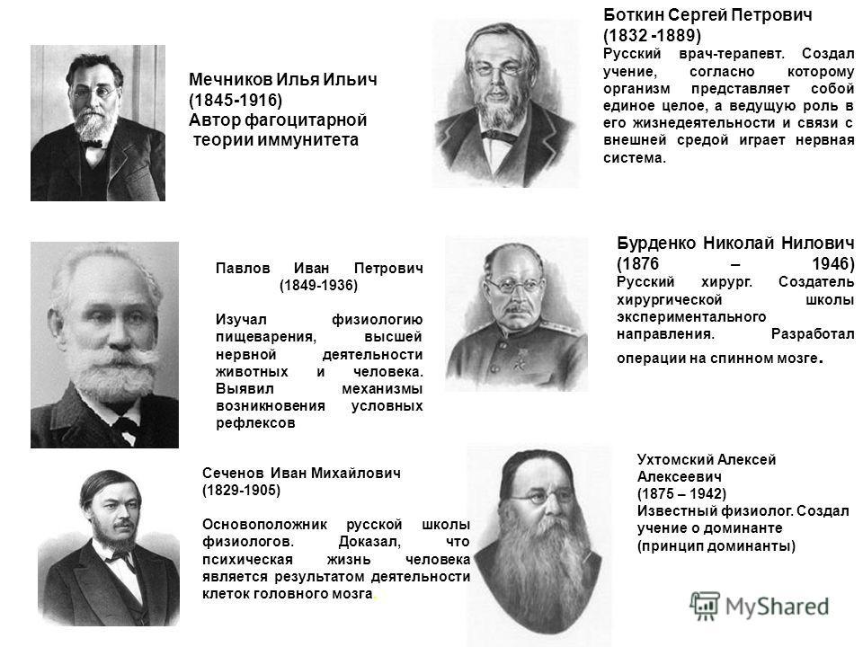 Боткин Сергей Петрович (1832 -1889) Русский врач-терапевт. Создал учение, согласно которому организм представляет собой единое целое, а ведущую роль в его жизнедеятельности и связи с внешней средой играет нервная система. Бурденко Николай Нилович (18