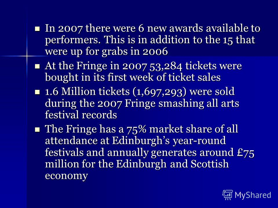 In 2007 there were 6 new awards available to performers. This is in addition to the 15 that were up for grabs in 2006 In 2007 there were 6 new awards available to performers. This is in addition to the 15 that were up for grabs in 2006 At the Fringe